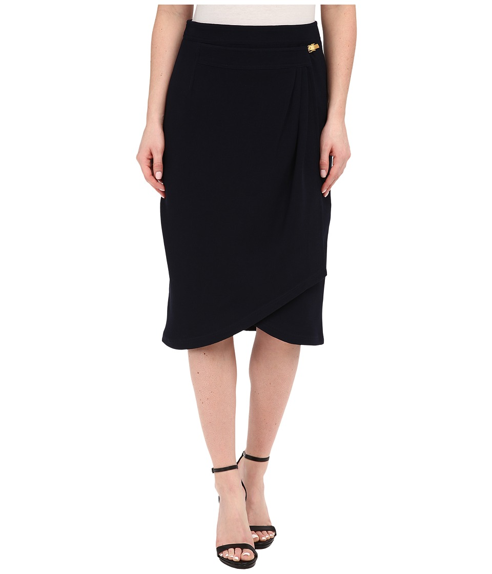 Adrianna Papell - Pleated Wrap Skirt with Metal Tab (Midnight Blue) Women's Skirt
