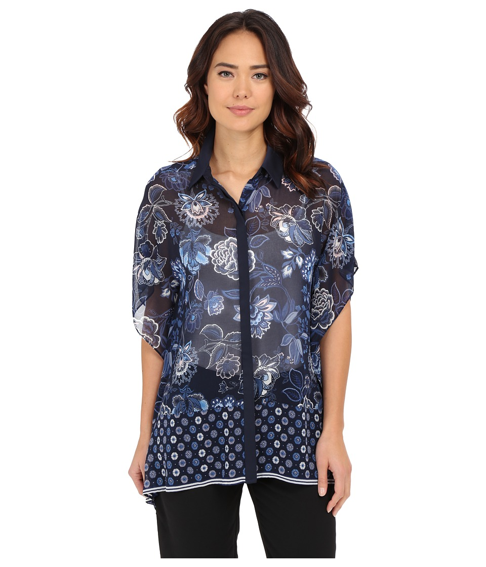 Adrianna Papell - Collared Unfitted Blouse (Navy Multi) Women's Blouse