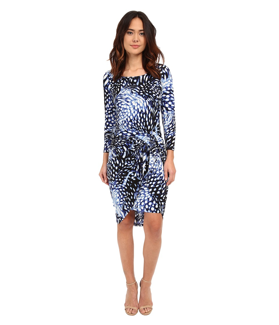 Adrianna Papell - Print Scoop Neck Long Sleeve Knot Dress (Navy/Ivory) Women's Dress