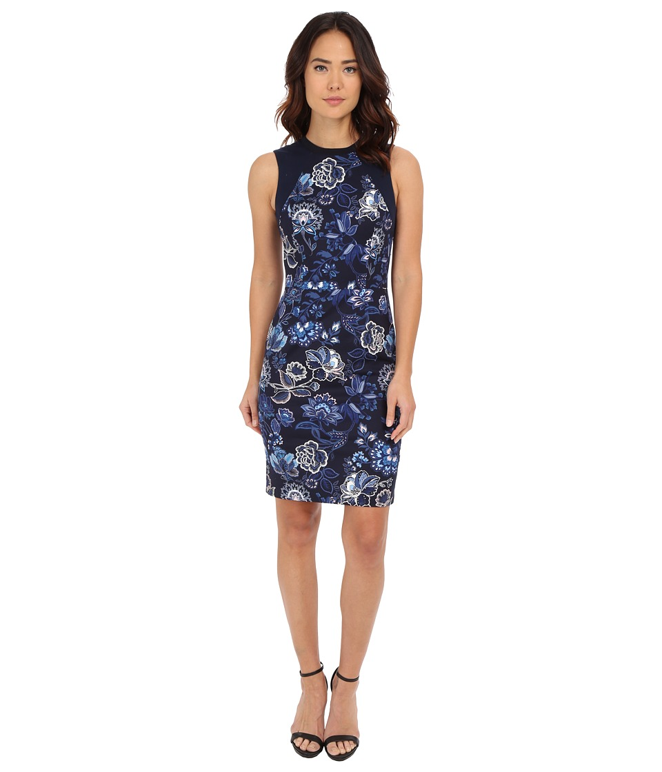 Adrianna Papell - Printed Sheath with Knit Trim (Garden Party) Women's Dress