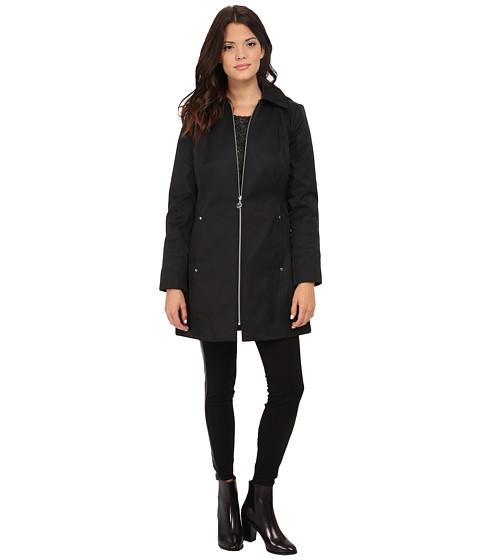 Anne Klein - Hooded Zip Front Rain Removable Hood (Black) Women