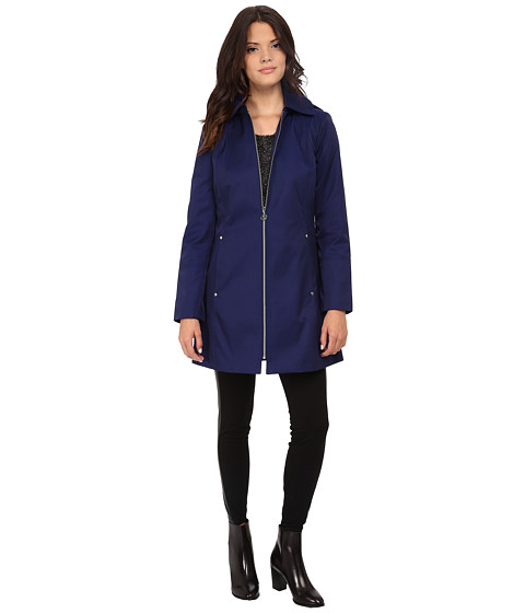 Anne Klein - Hooded Zip Front Rain Removable Hood (Saphire) Women