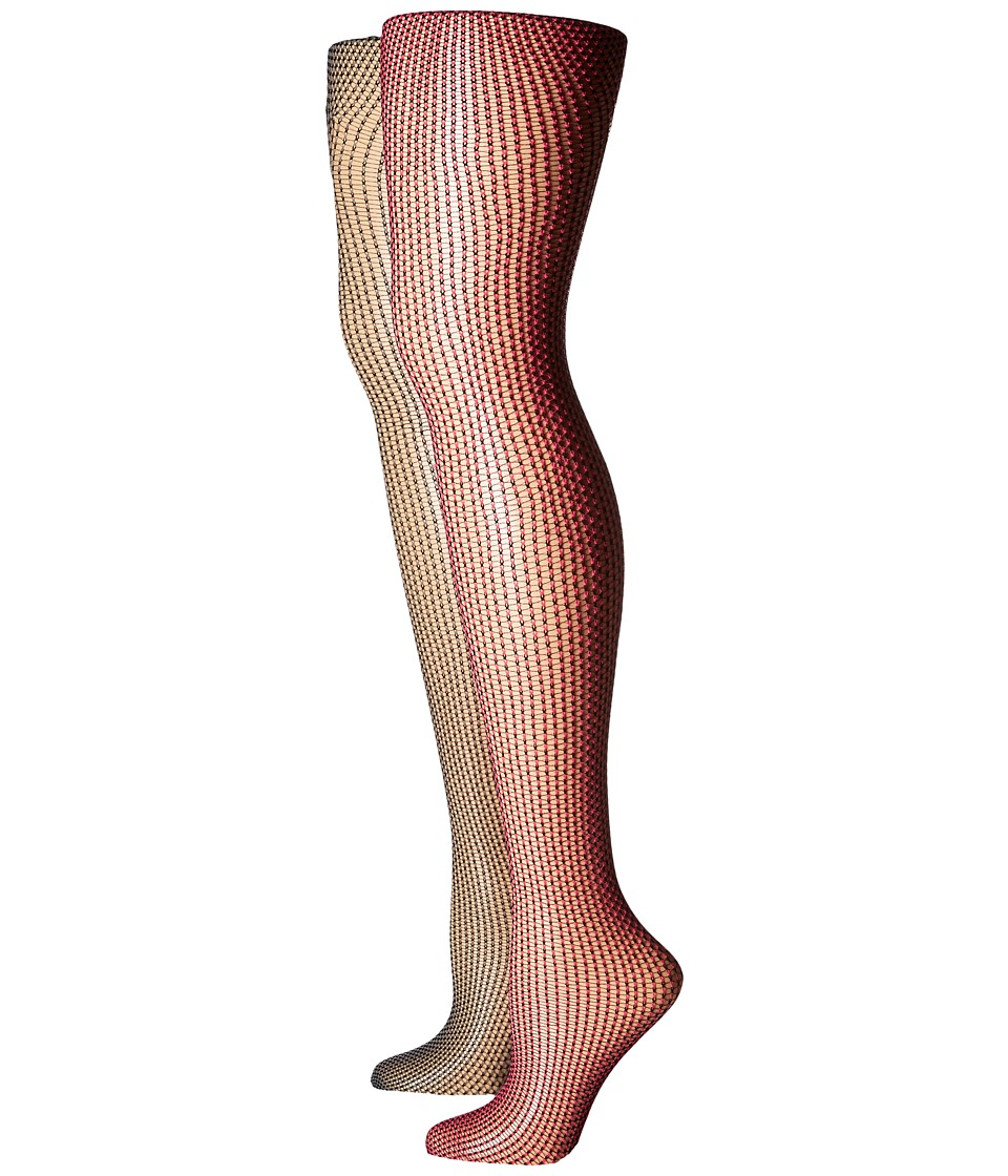 Betsey Johnson - 2-Pack Two-Tone Mesh Tights (Pixie Pink/Charcoal Grey) Hose