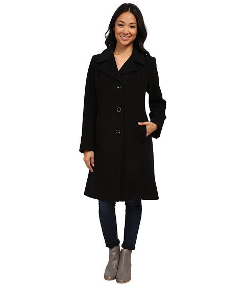 Anne Klein - 20% Cashmere Notch Collar Walker (Black) Women's Coat