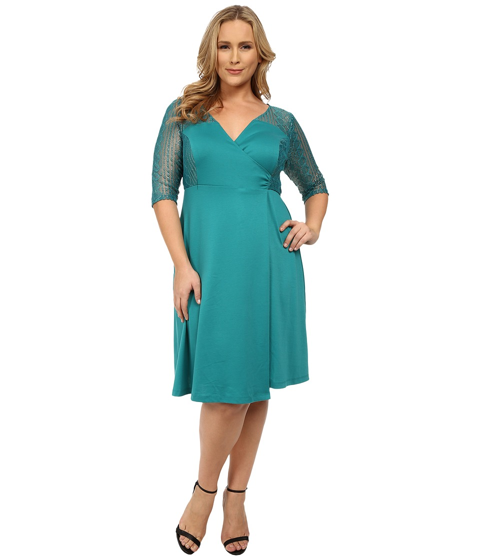 Kiyonna - Ravishing Lace Wrap Dress (Glistening Jade) Women's Dress