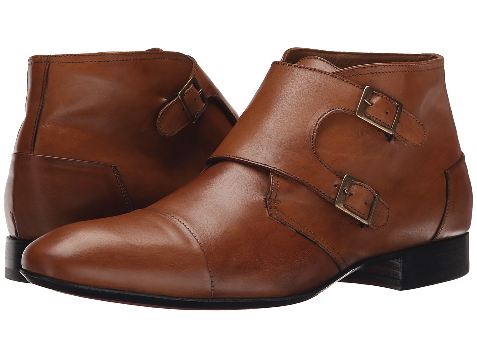 Massimo Matteo - Double Monk Cap Toe Boot (Burnisheed Tan) Men