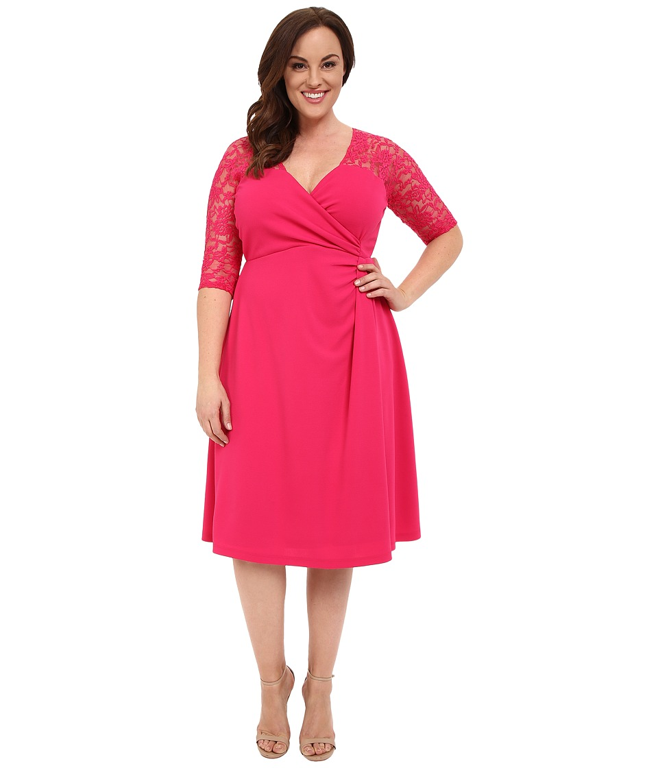 Kiyonna - Lavish Lace Dress (Pink Passion) Women's Dress