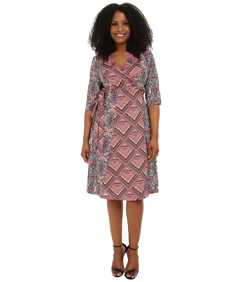 Kiyonna - In the Mix Wrap Dress (Day Kaleidoscope Mix) Women's Dress