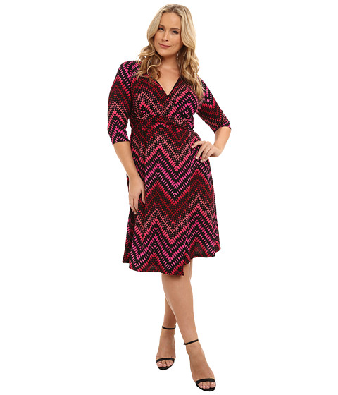Kiyonna - All Work and Play Wrap Dress (Pink Multi Print) Women's Dress