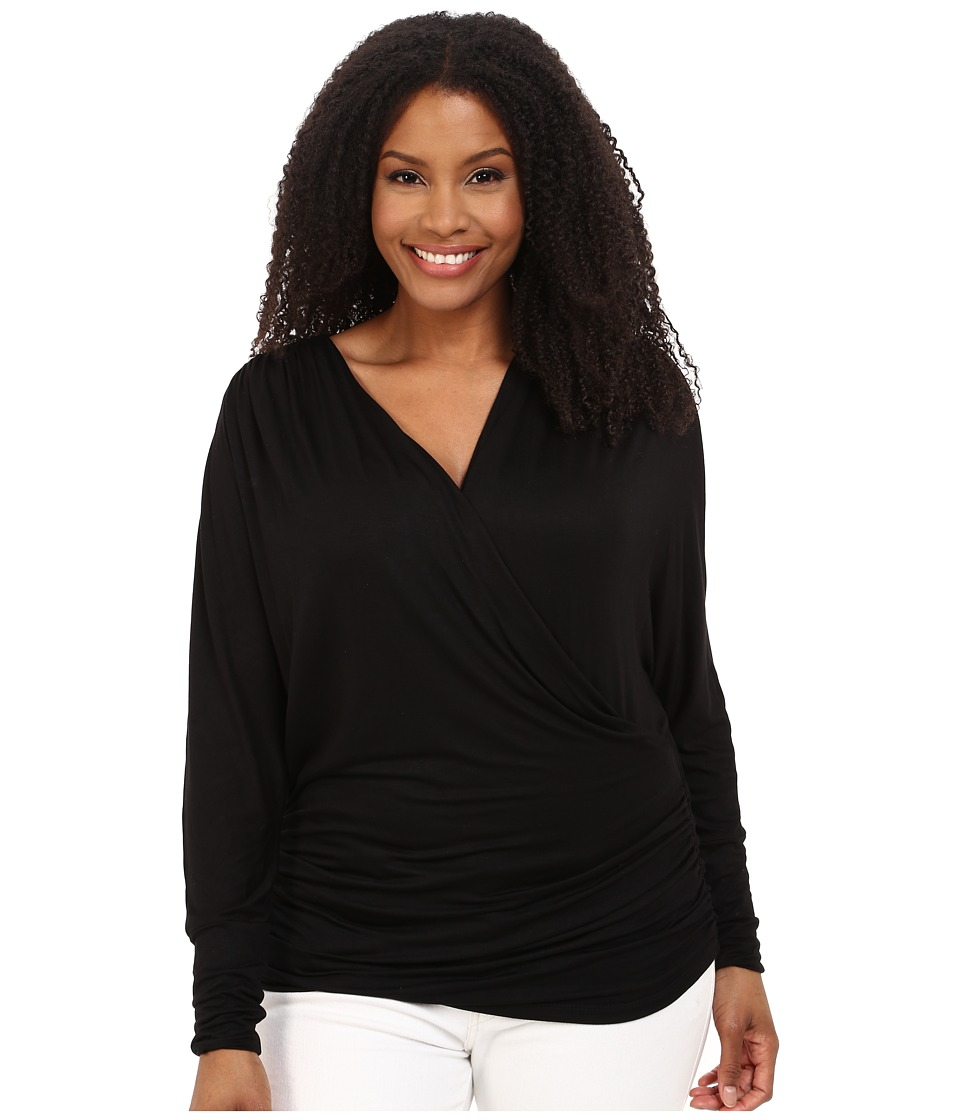 Kiyonna - Femme Faux Wrap Top (Black Noir) Women's Long Sleeve Pullover