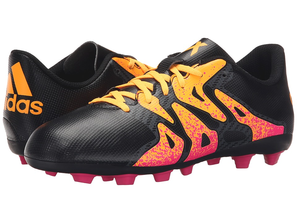 adidas Kids - X 15.4 FxG Soccer (Toddler/Little Kid/Big Kid) (Black/Shock Pink/Solar Gold) Kids Shoes