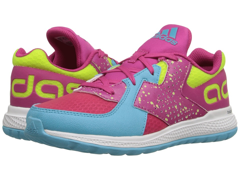 adidas Kids - Force Bounce (Little Kid/Big Kid) (Equipment Pink/Solar Yellow/Blue Glow) Boys Shoes