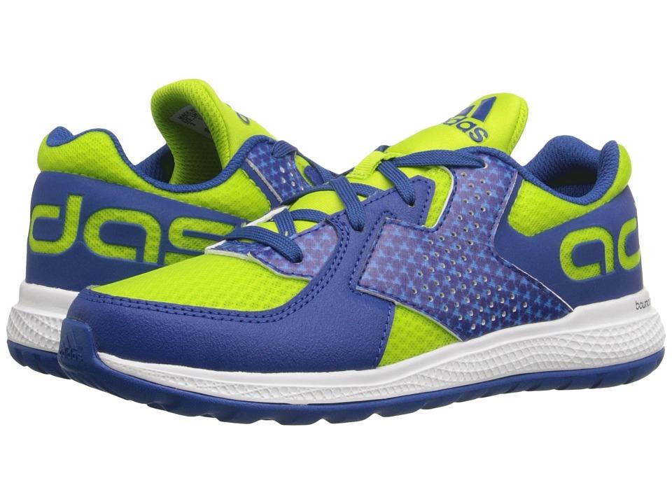 adidas Kids - Force Bounce (Little Kid/Big Kid) (Semi Solar Slime/Equipment Blue/Shock Blue) Boys Shoes
