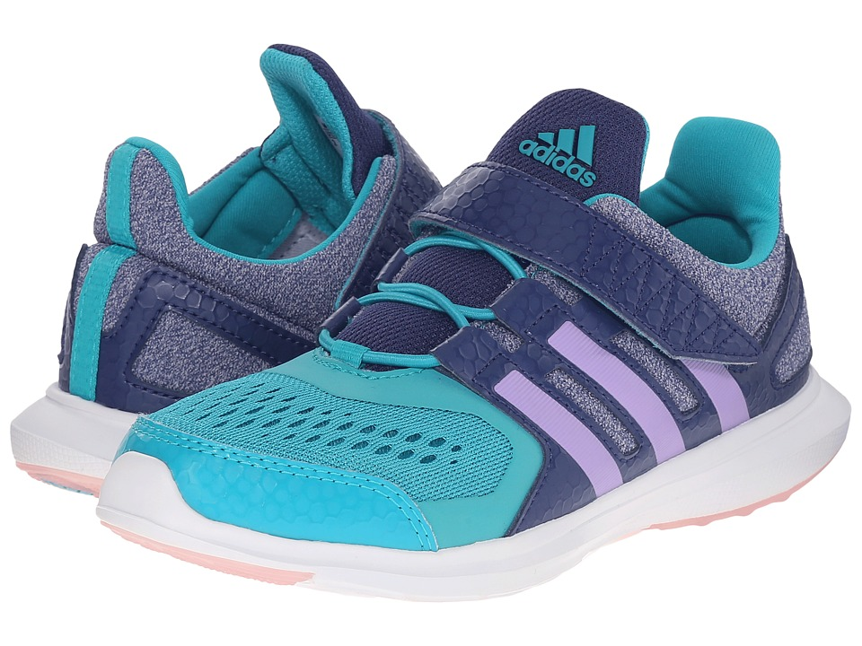 adidas Kids - Hyperfast EL (Little Kid/Big Kid) (Raw Purple/Purple Glow/Shock Green) Girl's Shoes