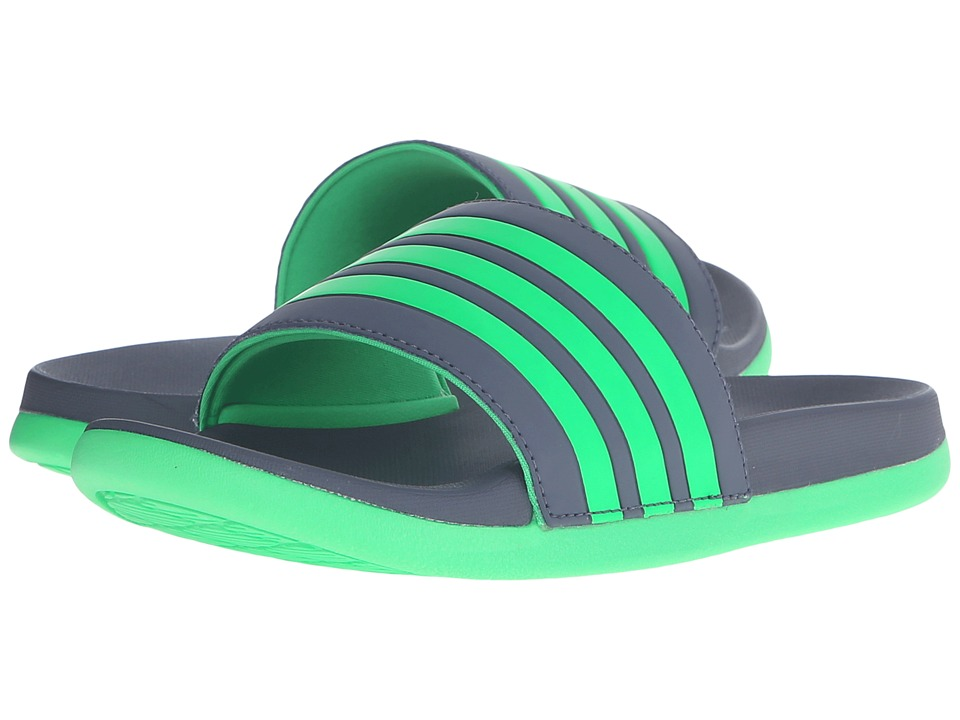 adidas Kids - Adilette SC Plus 3-Stripes (Toddler/Little Kid/Big Kid) (Onix/Solar Lime) Boys Shoes