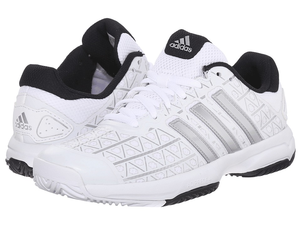 adidas Kids - Barricade Club xJ Tennis (Little Kid/Big Kid) (White/Matte Silver/Black) Boys Shoes
