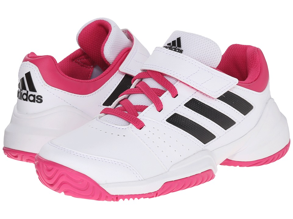 adidas Kids - Kids' Court EL Tennis (Little Kid/Big Kid) (White/Black/Pink) Girls Shoes