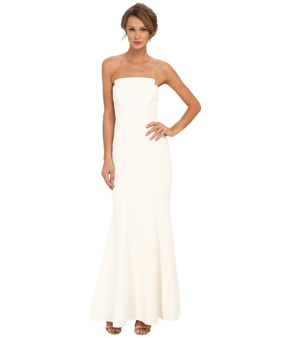 JILL JILL STUART Strapless Crepe Fitted Column Gown Off-White Dress