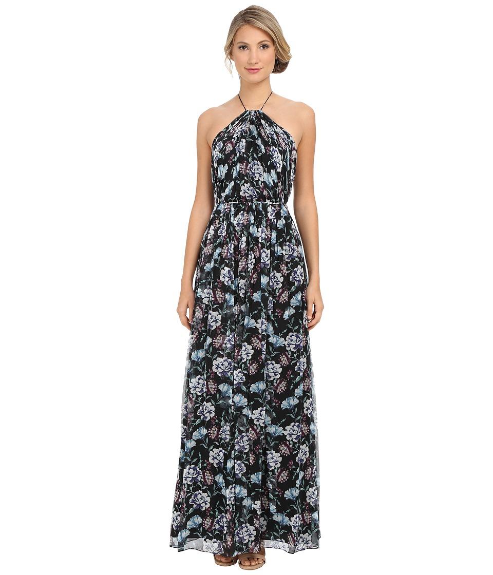 JILL JILL STUART Halter Crisscross Back Printed Silk Chiffon Gown Multi Dress