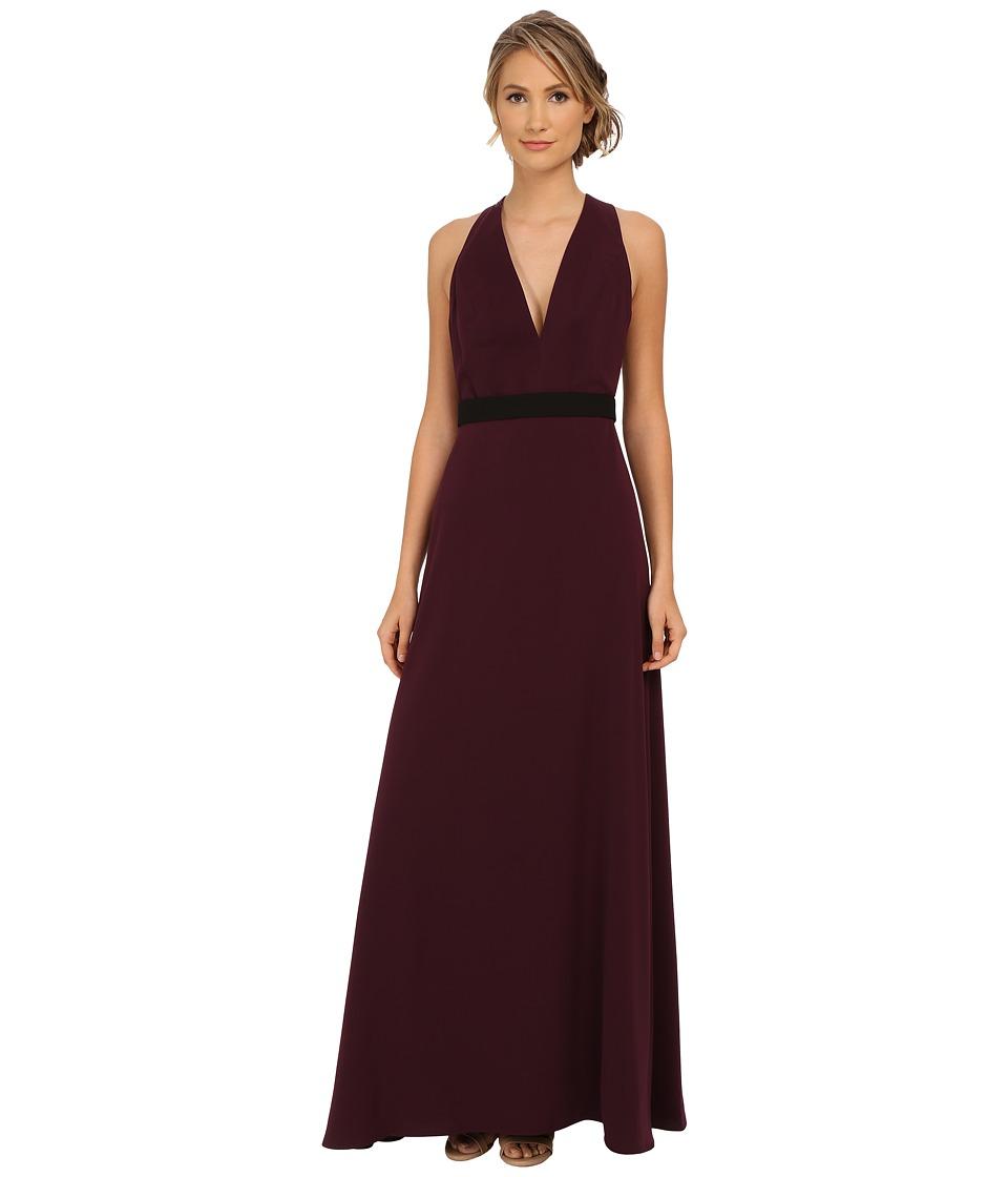JILL JILL STUART Sleeveless Deep V-Belted Crepe Gown (Deep Magenta) Women