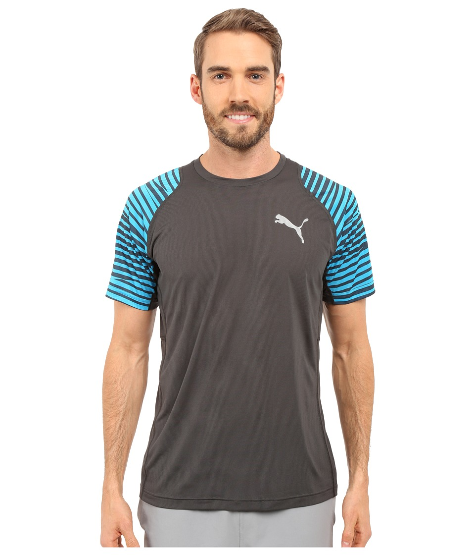 PUMA - Vent Graphic Tee (Asphalt/Atomic Blue) Men's T Shirt