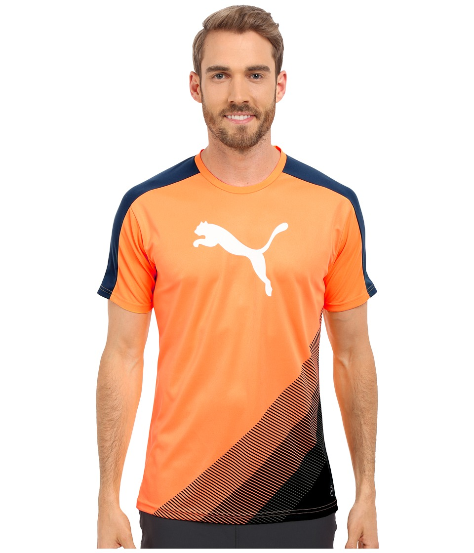 PUMA - IT evoTRG Cat Graphic Tee (Orange Pop/Blue Wing Teal) Men's Short Sleeve Pullover