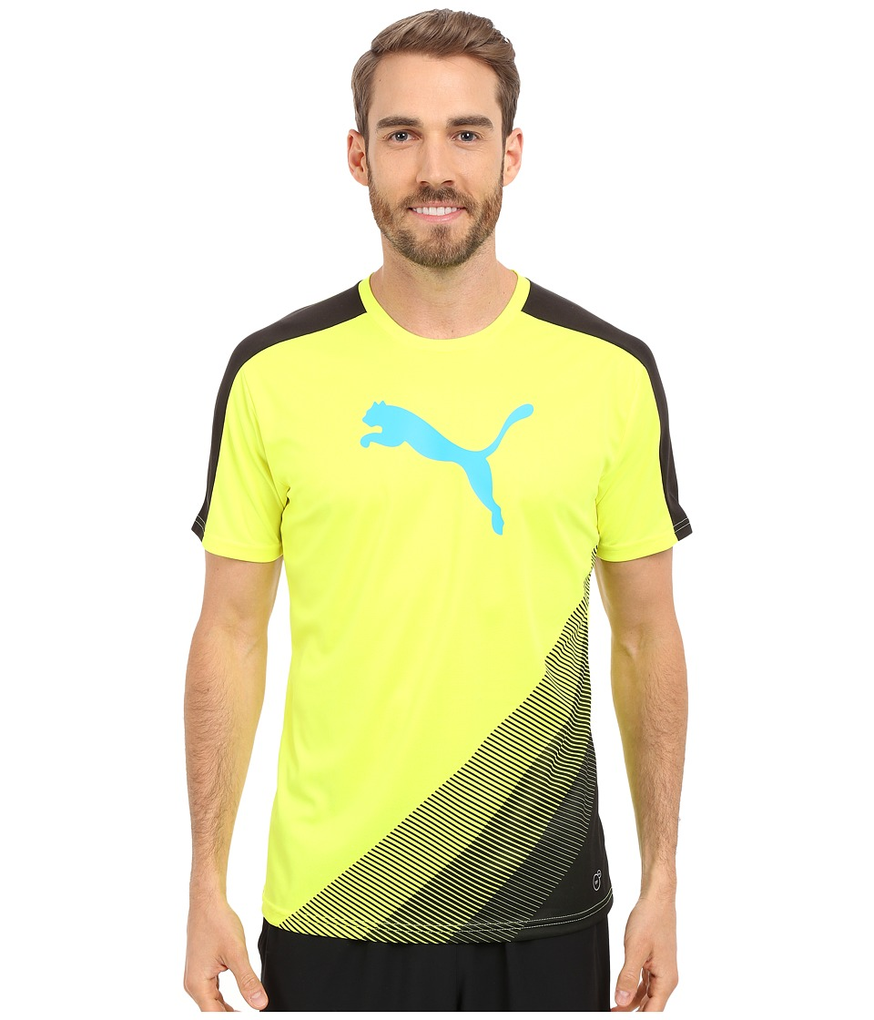 PUMA - IT evoTRG Cat Graphic Tee (Safety Yellow/Atomic Blue) Men's Short Sleeve Pullover