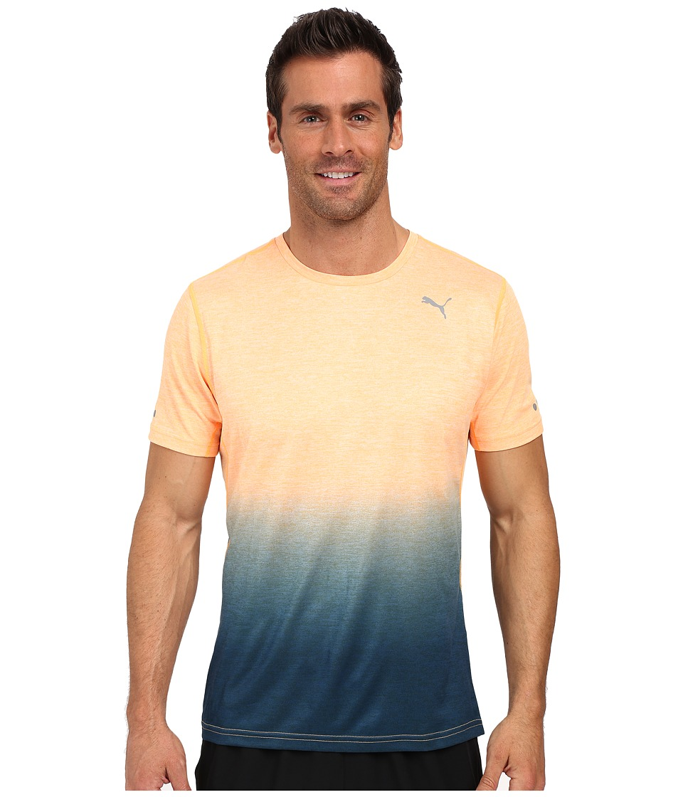 PUMA - Rebel-Run Short Sleeve Tee (Orange Pop Heather) Men's T Shirt