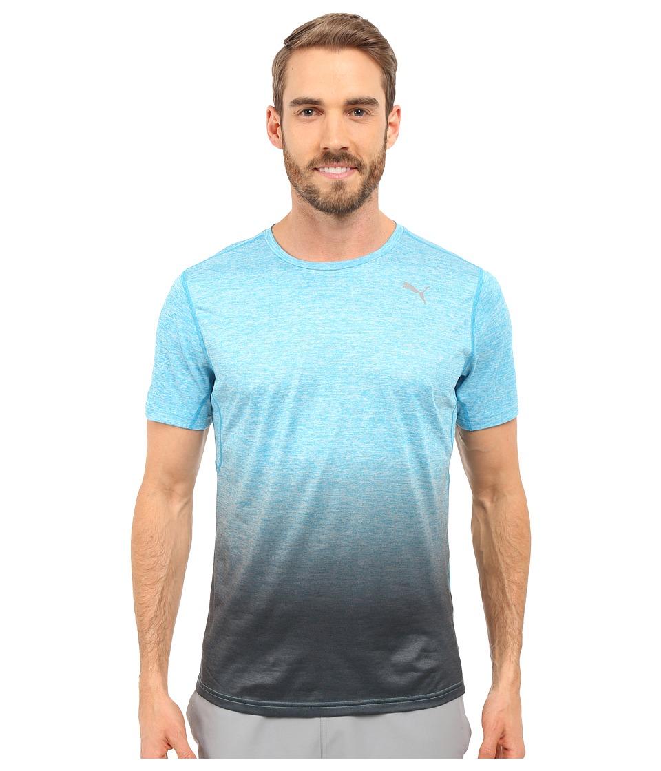 PUMA - Rebel-Run Short Sleeve Tee (Atomic Blue Heather) Men
