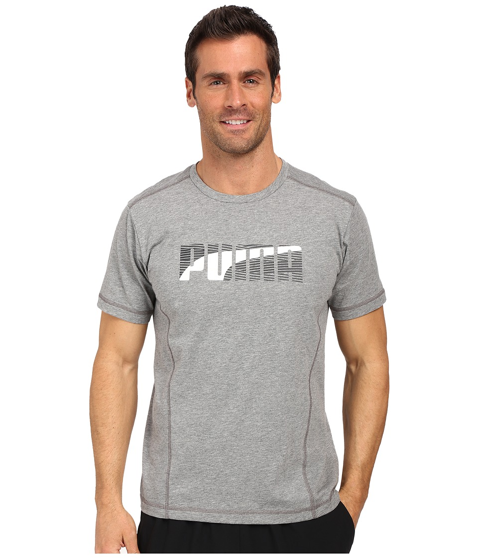 PUMA - Active Dry Formstripe Tee (Medium Gray Heather) Men's T Shirt