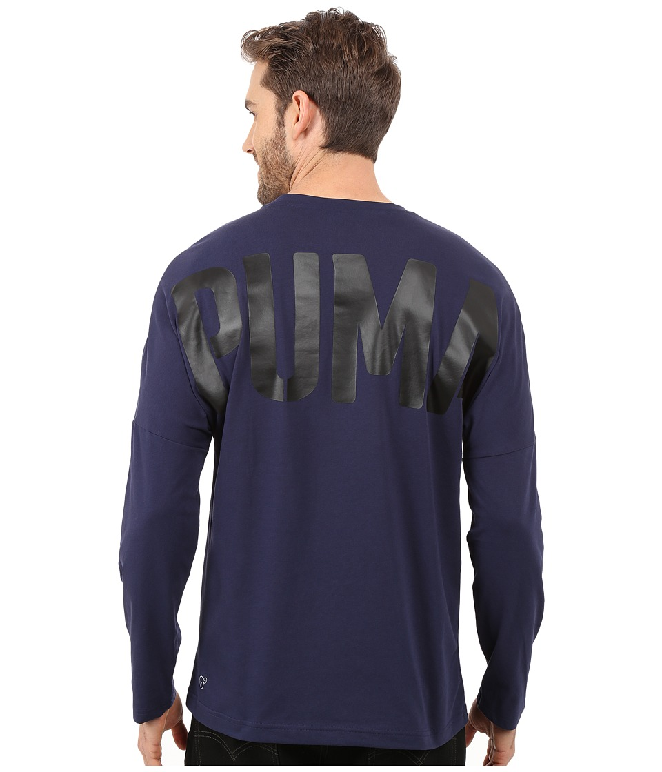 PUMA - Evo Bold Logo Long Sleeve Tee (Peacoat) Men's Long Sleeve Pullover