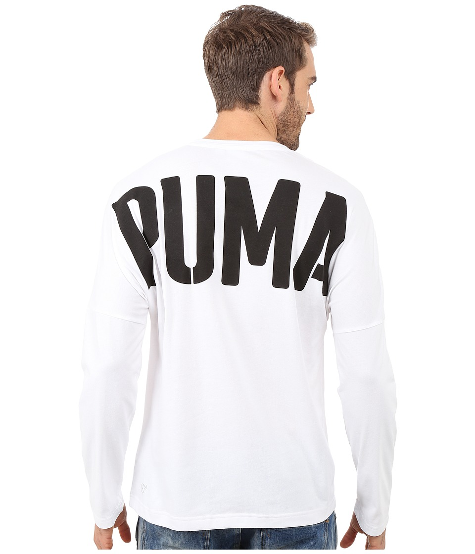 PUMA - Evo Bold Logo Long Sleeve Tee (White) Men's Long Sleeve Pullover