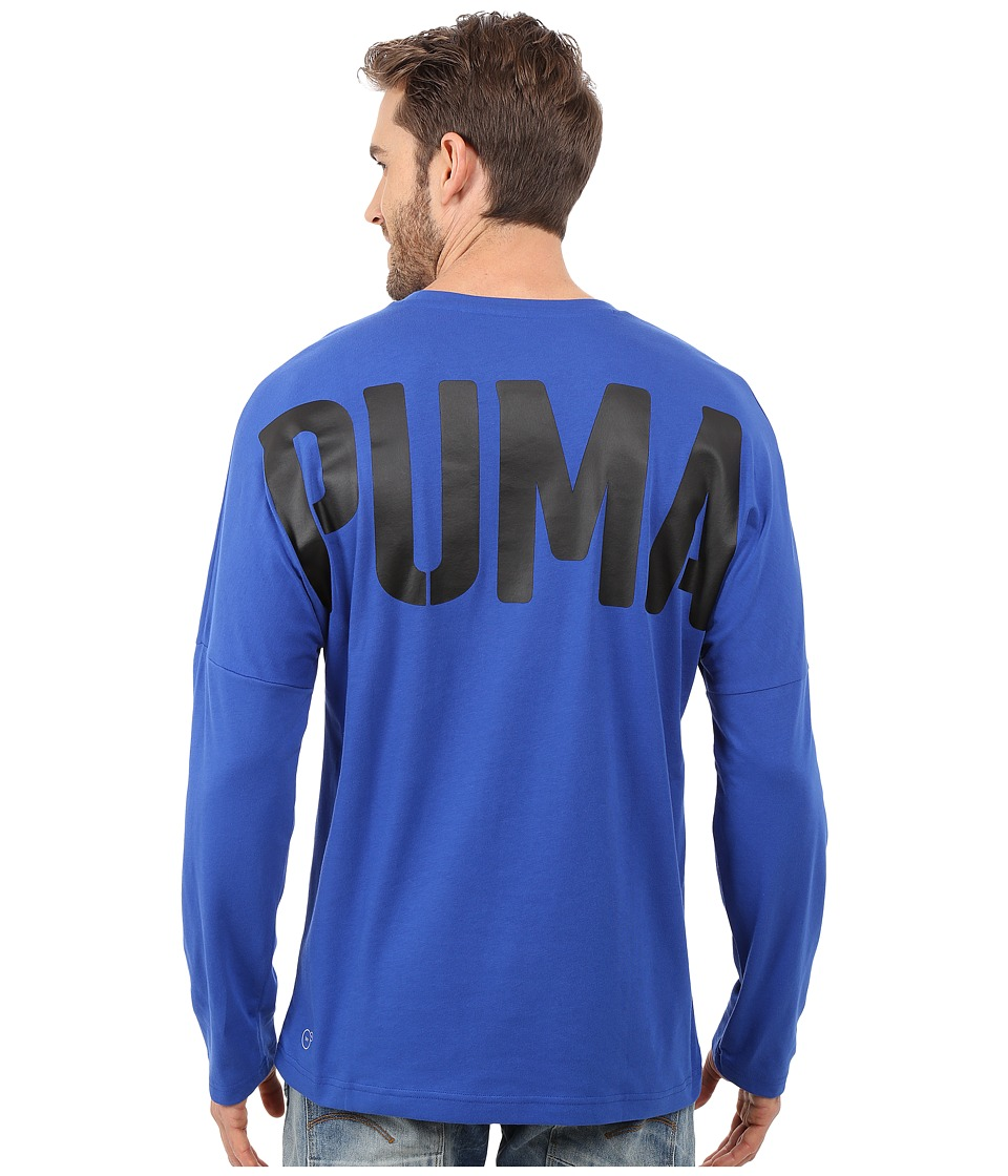 PUMA - Evo Bold Logo Long Sleeve Tee (Surf The Web) Men's Long Sleeve Pullover