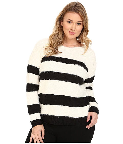 DKNY Jeans - Plus Size Stripe Eyelash Pullover (Polar Cream) Women