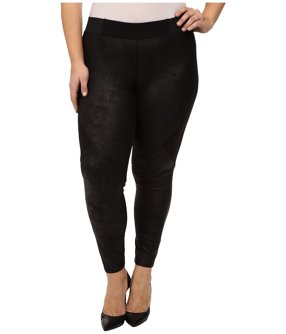 DKNY Jeans - Plus Size Foil Coated Pieced Terry Leggings (Noir) Women's Casual Pants