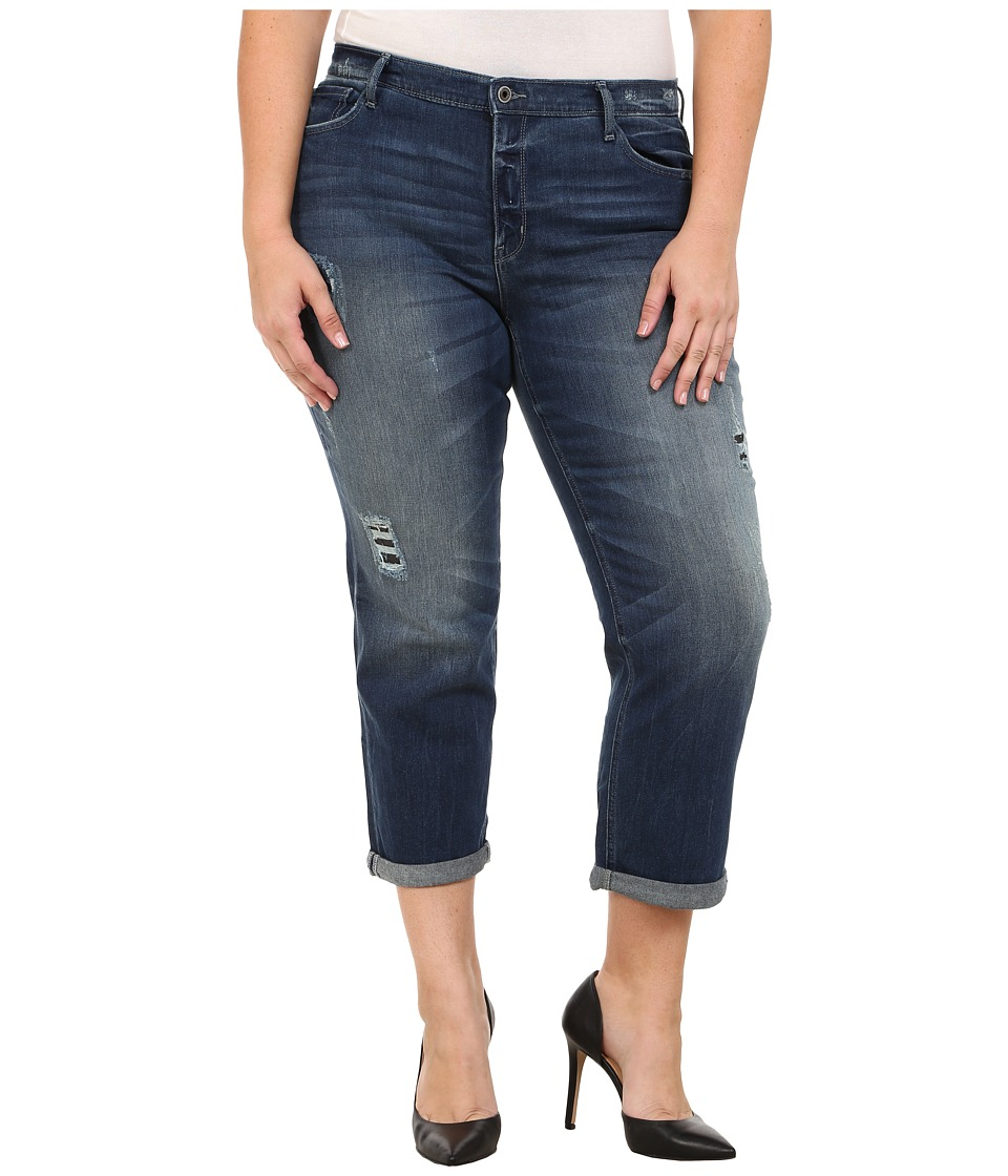DKNY Jeans - Plus Size Rip and Repair Bowery Boyfriend Jeans in Oasis Wash (Oasis Wash) Women's Jeans plus size,  plus size fashion plus size appare