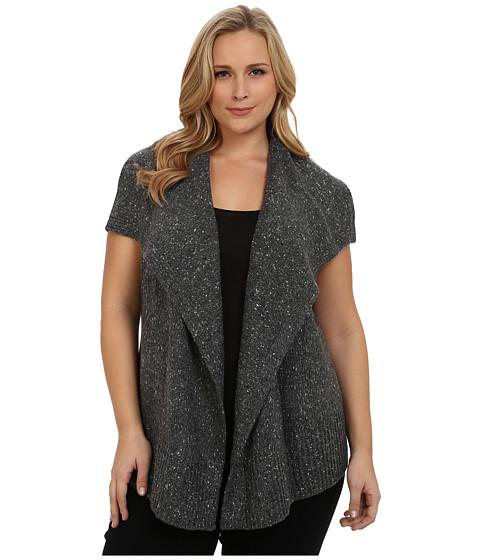 DKNY Jeans - Plus Size Drape Front Nep Yarn Vest (Charcoal) Women's Vest