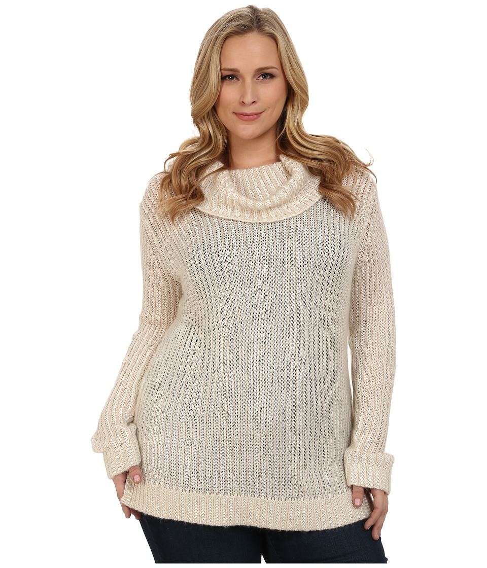 DKNY Jeans - Plus Size Turtleneck Yarn Mix Pullover (Almond) Women's Long Sleeve Pullover