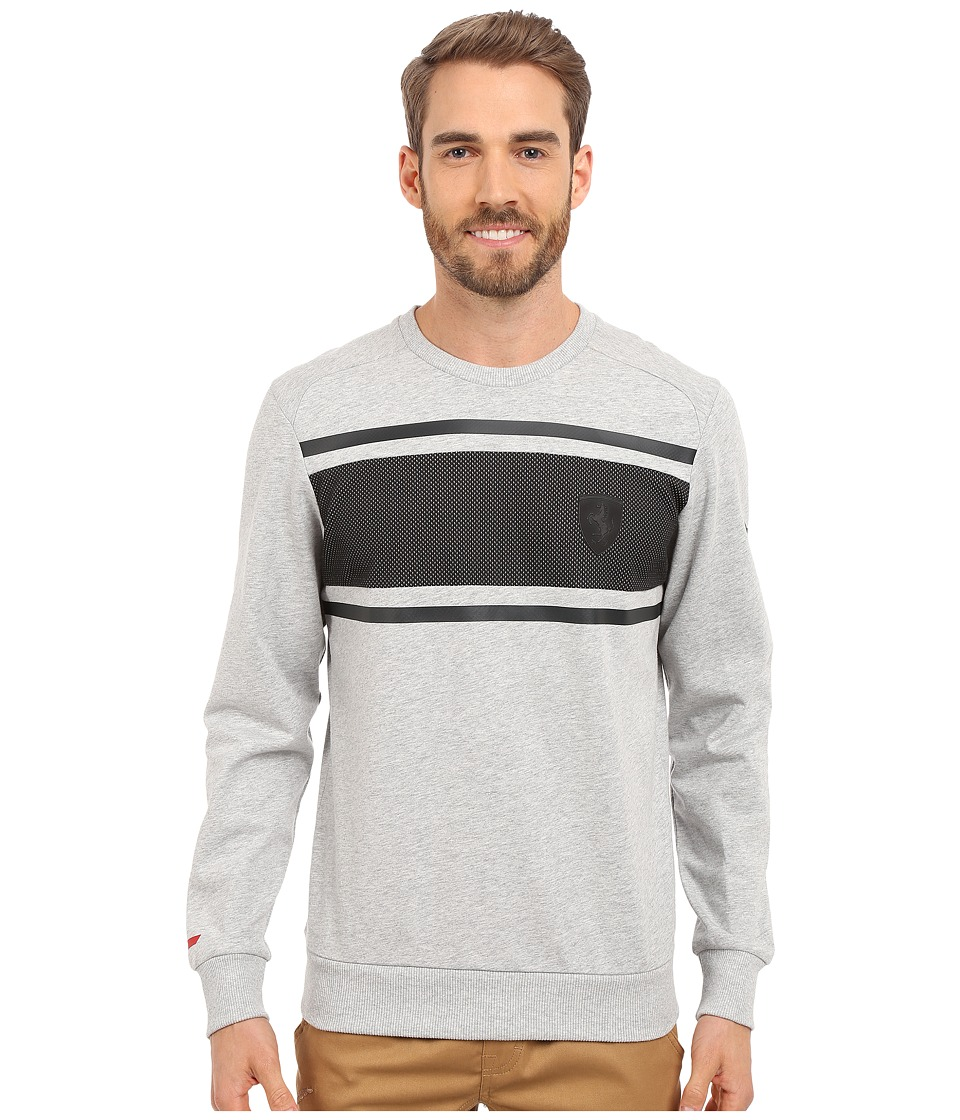 PUMA - Ferrari Crew Neck Sweater (Light Gray Heather) Men's Long Sleeve Pullover