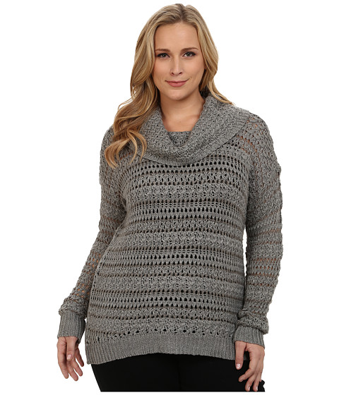 DKNY Jeans - Plus Size Yarn Mix Crochet Cowl Pullover (Smoke) Women's Long Sleeve Pullover