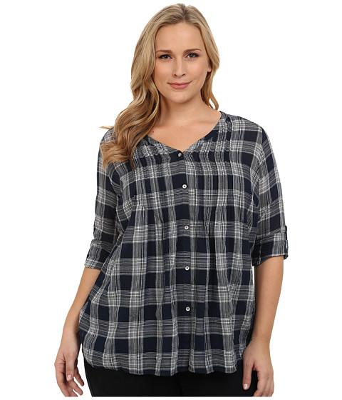 DKNY Jeans - Plus Size Cotton Gauze Plaid Shirt (Mood Indigo) Women