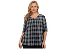 DKNY Jeans Plus Size Cotton Gauze Plaid Shirt