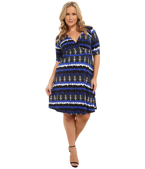 Poppy & Bloom - Plus Size Haute Spot Dress (Blue/Black) Women