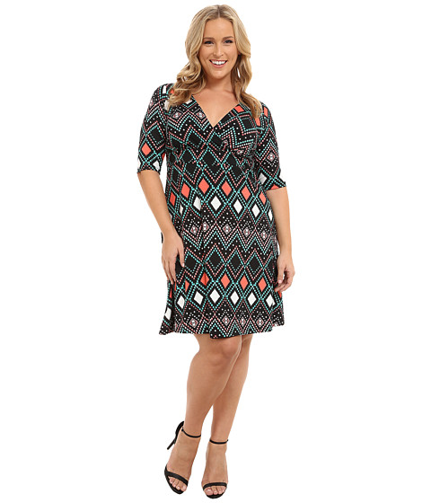 Poppy & Bloom - Plus Size Haute Spot Dress (Coral/Black Abstract) Women