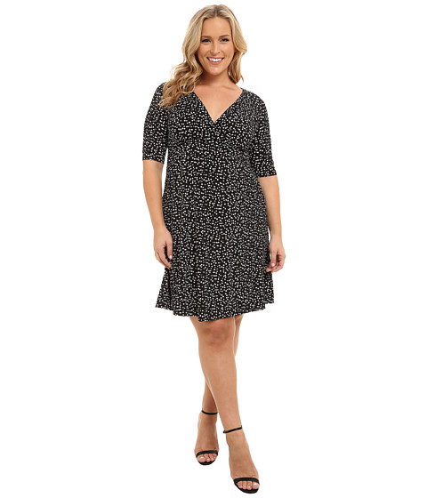 Poppy & Bloom - Plus Size Haute Spot Dress (Black/White Dots) Women's Dress