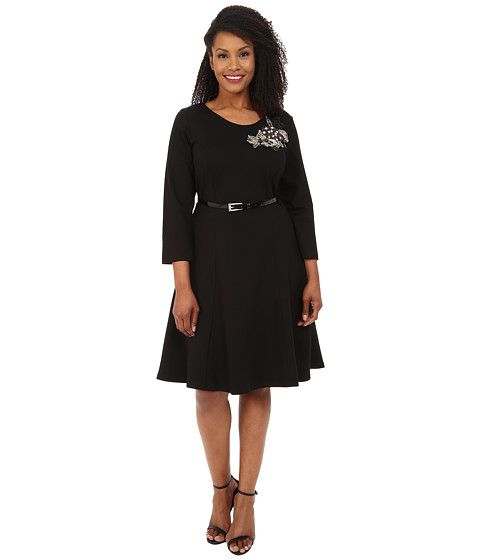Poppy & Bloom - Plus Size Emerald in the Rough Dress (Black) Women