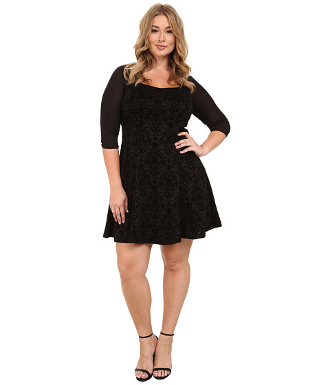 Poppy & Bloom - Plus Size Strike of Midnight Occasion Dress (Black) Women