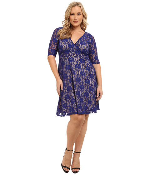 Poppy & Bloom - Plus Size Royal Treatment Lace Dress (Blue) Women