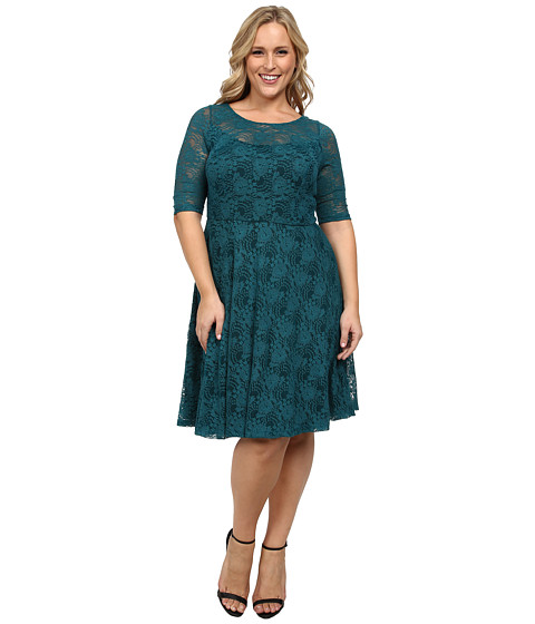 Poppy & Bloom - Plus Size Gloria Lace Dress (Teal) Women