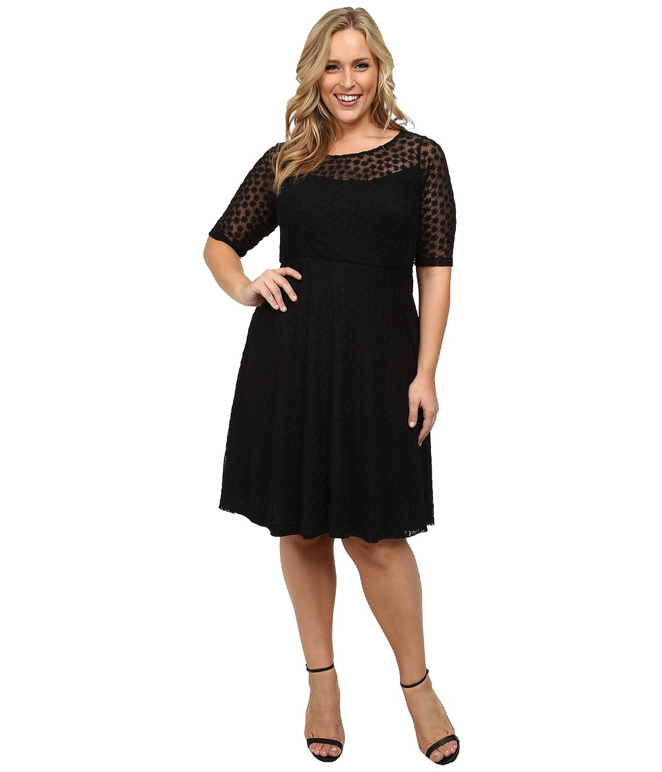 Poppy & Bloom - Plus Size Gloria Lace Dress (Black) Women's Dress